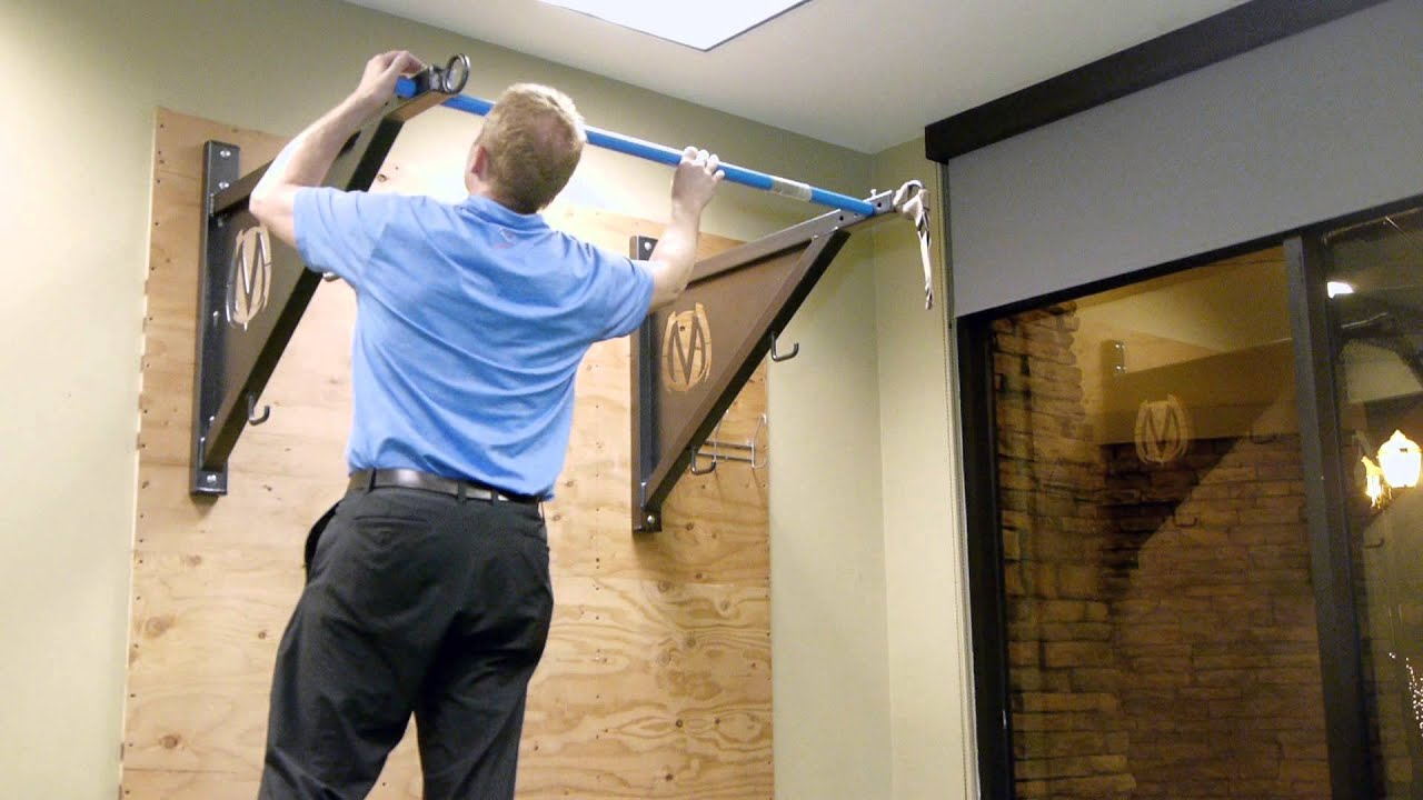 Movestrong pull up bracket install on drywall youtube for How to build a wall bar