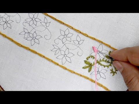 Border design tutorial for kameez| Simple Floral Border Design| Hand embroidery border design thumbnail