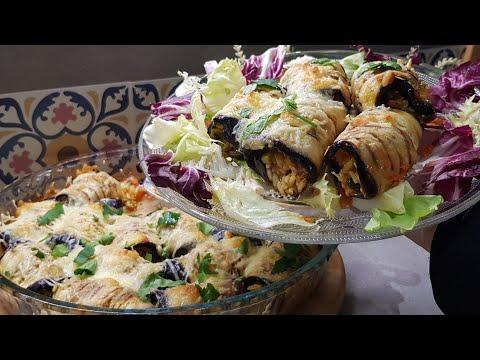 plat-végétarien-roulés-d'aubergines-farcies-aux-légumes-شرائح-الدنجال-محشية-بالخضار