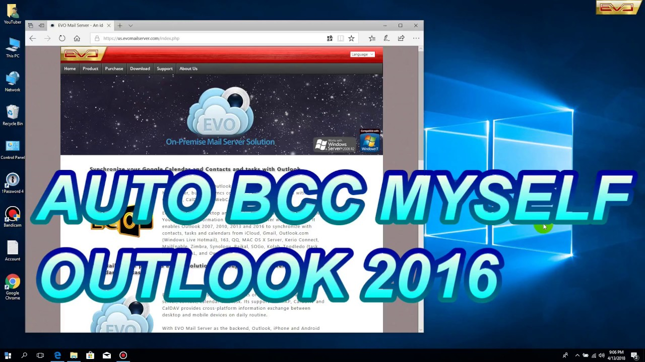 How to auto BCC myself Outlook 2016