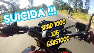 XJ6,SRAD1000 & GSXS1000 ACELERANDO NO TRANSITO SUICIDA !!
