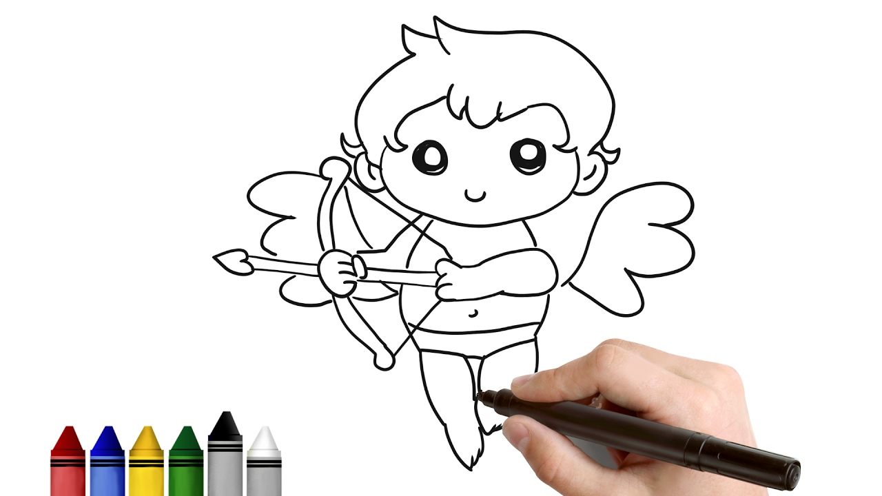 How To Draw Simple Cupid For Valentine S Day Drawing For Kids