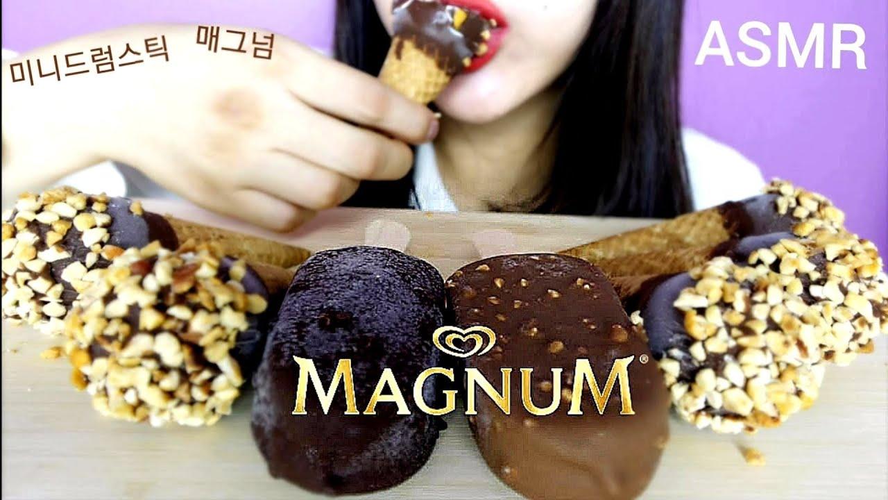 Asmr Magnum Ice Cream Bars Mini Drumsticks Eating Show Eating Sounds No Talking Yoojin Eats