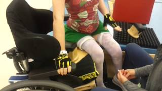 Transferring to the wheelchair.
