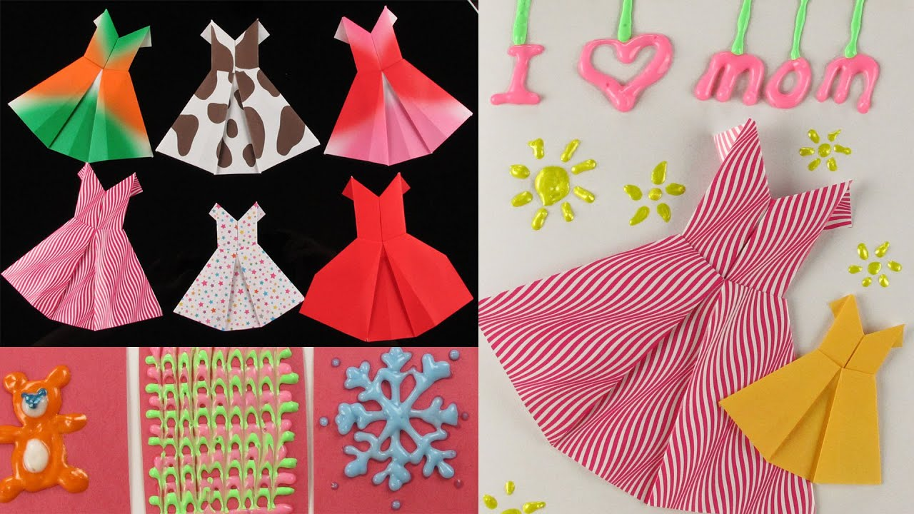 Puffy paint designs - Diy Mother S Day Gift Idea Origami Dress Cards Fun With 3d Puffy Paint By Elegant Fashion 360 Youtube