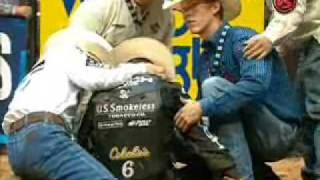 WRECK: World Champion Justin McBride gets stomped by Wintwister (PBR)