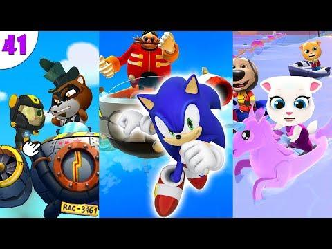 ГОВОРЯЩИЙ ТОМ ПОГОНЯ ГЕРОЕВ VS Sonic Dash против Анджелы на аквабайке ч. 41