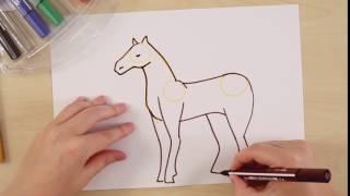 Рисуем лошадь с помощью STABILO