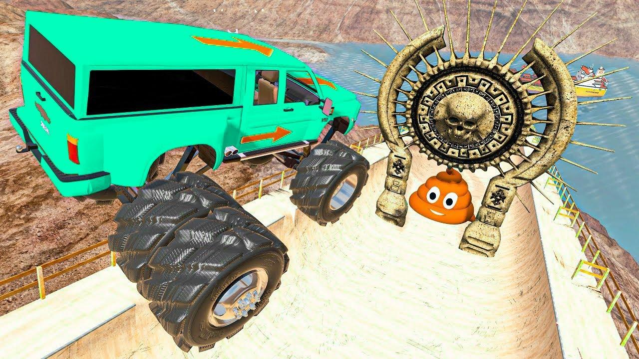 BeamNG.drive - Cars Jumping through Skull Gates | Crazy Vehicle Huge Jumps and Crashes #156