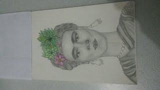 Frida Kahlo Karakalem Portre