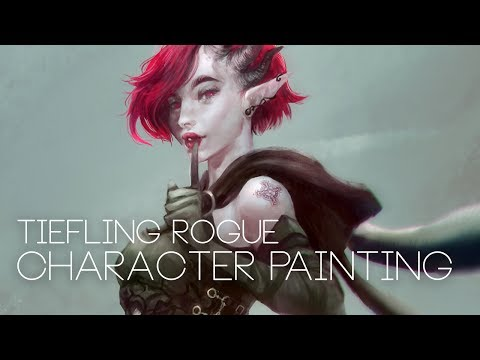 Tiefling Rogue Character Painting - YouTube