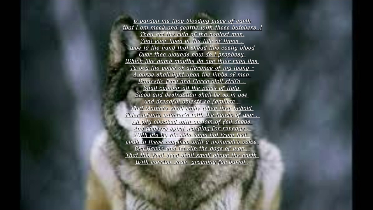 And Let Slip The Dogs Of War cry havoc and let slip the dogs of war . - youtube