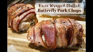 Bacon Wrapped Stuffed Butterfly Pork Chops