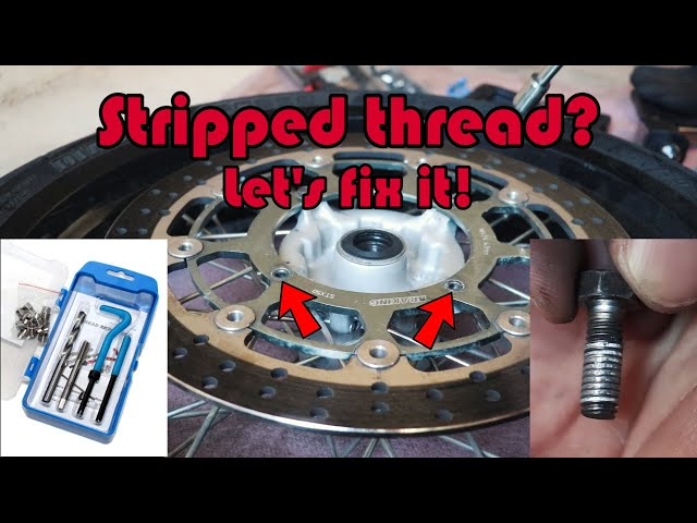 How to repair stripped thread using fake Helicoil. XR400 front wheel hub.