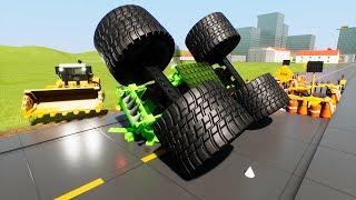 Road Construction Against Lego Monster Trucks   Brick Rigs