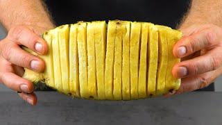 Срезаем кожуру с ананаса и привязываем к рыбному филе. Это божественно!