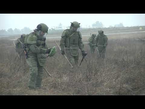 Разминирование аэропорта Степанакерт саперами миротворческих сил РФ в Нагорном Карабахе