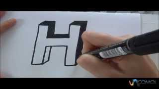 Cómo hacer la letra H en 3D - How to make the letter H in 3D