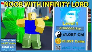 Noob With Full Team of Infinity Lord Pets! x4.21T Boost! | Roblox Ninja Legends