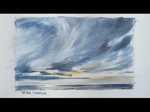 How to paint a Dramatic Sunset Sky in Watercolor. Just 3 colors. Peter Sheeler