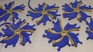 Вязание цветка для наборного ирландского кружева.Урок вязания крючком.