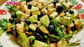 Raw Green Salad With Tofu, Collard Green, Avocado & Honey  Aloe Vera Syrup Asian Style