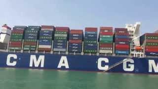 عبور اكبر حاملة حاويات فرنسية قناة السويس الجديدة بحمولة 180ألف طن ورسوم عبورمليون دولار