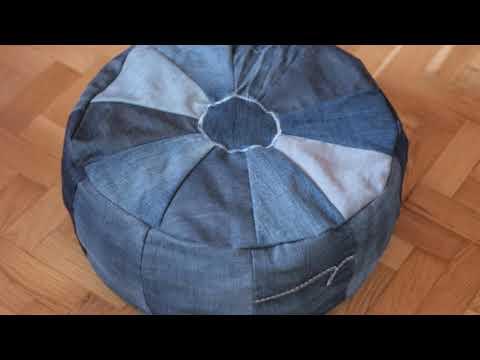 Пуф из старых джинсов своими руками