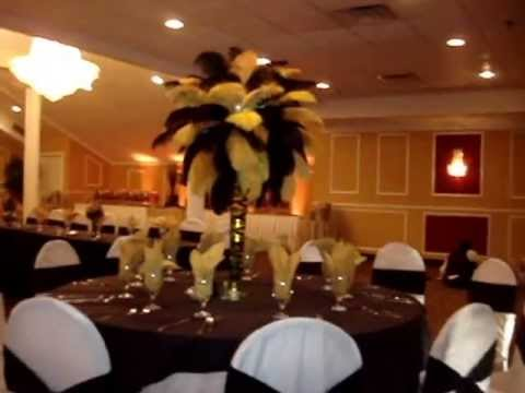 Vegas Themed Black Amp Gold Ostrich Feather Centerpieces By Sweet 16 Candelabras
