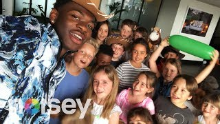 Lil Nas X Hangs Out with Cute Kids