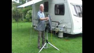 Aiming a mobile satellite dish using a freesat receiver