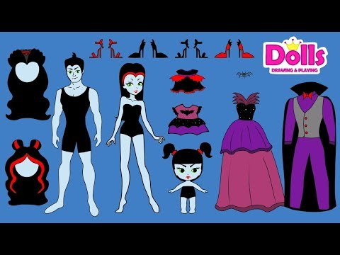 PAPER DOLLS VAMPIRE FAMILY DRESS UP DRESSES SHOES & ACCESSORIES DOLLHOUSE IN ALBUM