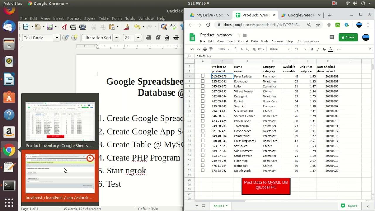 Download Google Spreadsheet Post data to MySQL database @local PC