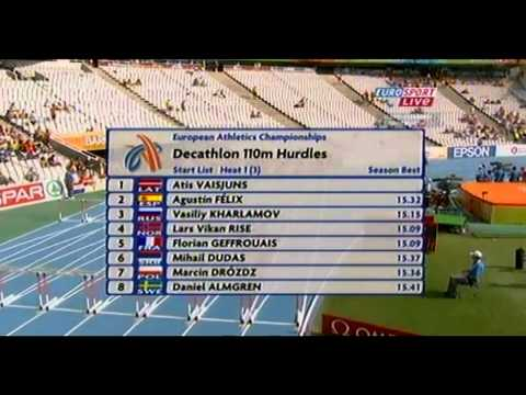 European Athletics Championships in Barcelona 2010. Decathlon 100m and 110m hurdles