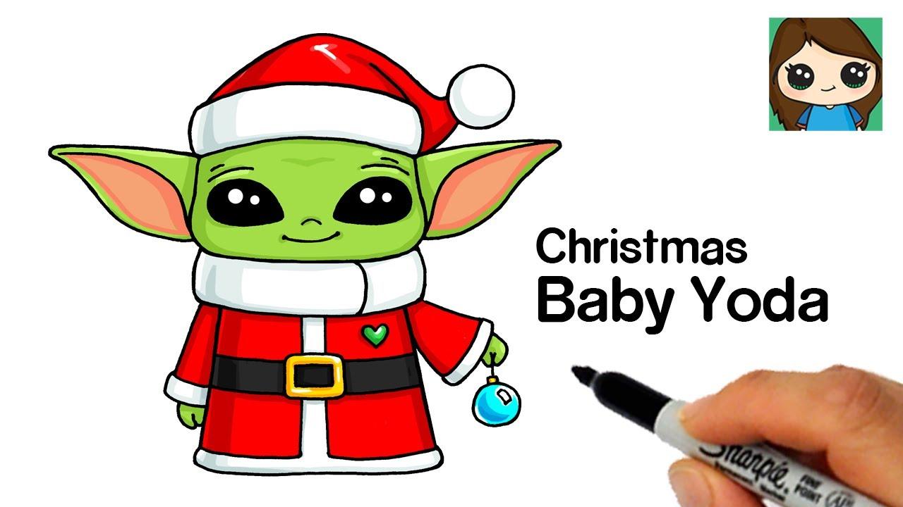 How To Draw Christmas Baby Yoda Youtube