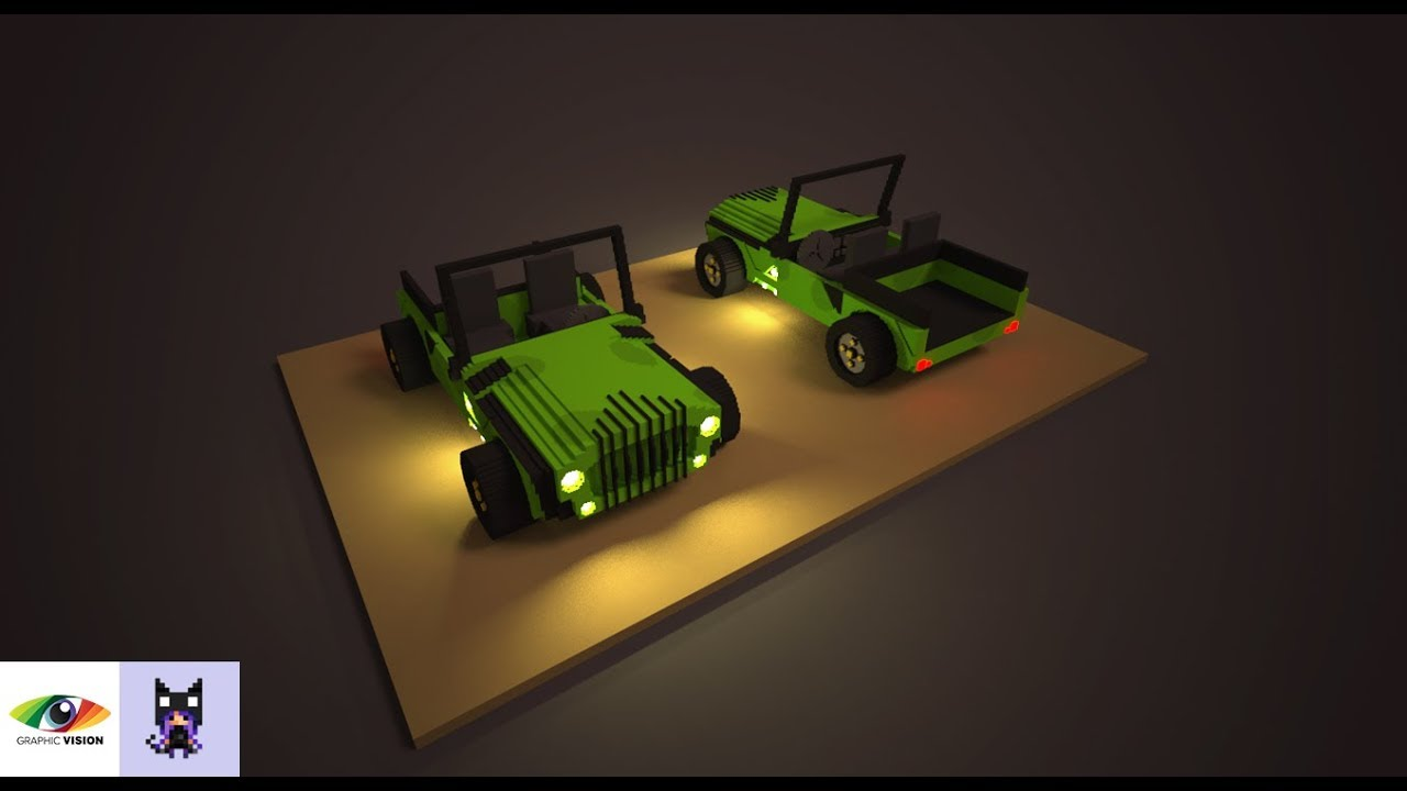 MagicaVoxel | How to create a simple jeep model (0 99) | 3D Voxel Art  Tutorial