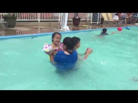 Lanaeyah in swimming pool in Dallas