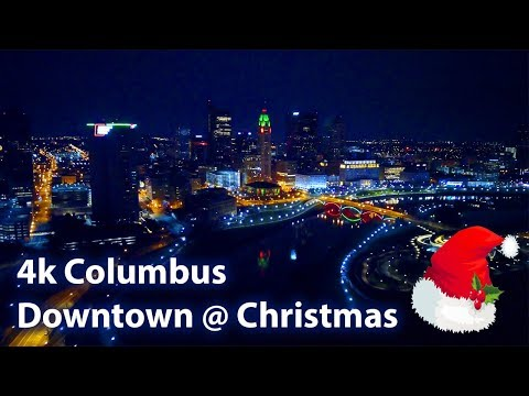 4k Aerial Flyover Columbus, Ohio downtown at Christmas!