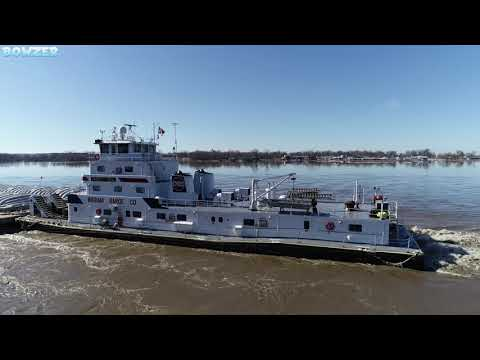 Towboat James F. Neal Passing Portage Des Sioux Mo. River At Minor Flood Stage