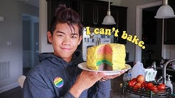 baking a rainbow cake for my birthday because GAY