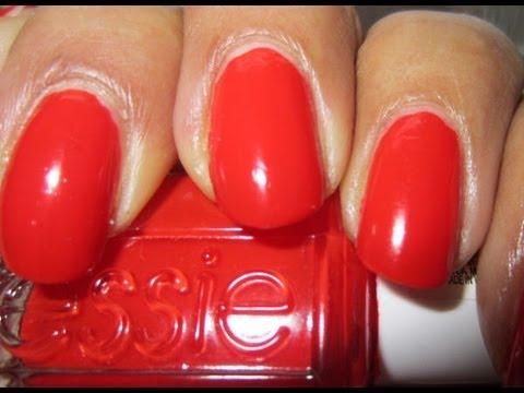 Best Red Nail Polish Essie Geranium With Glitter Youtube