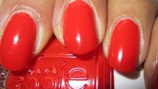 Best red nail polish Essie Geranium with glitter