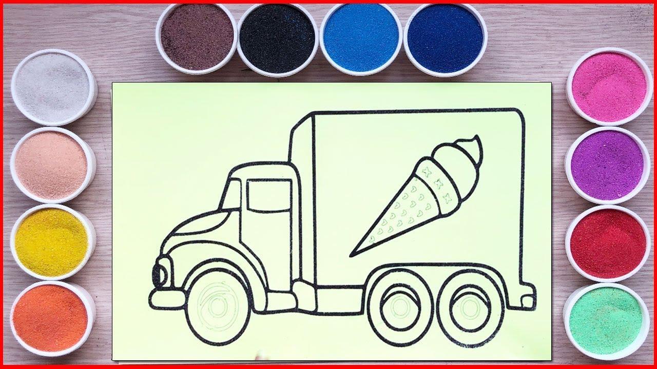 Đồ chơi TÔ MÀU TRANH CÁT XE TẢI BÁN KEM CHO BÉ – Sand painting truck ice cream art (Chim Xinh)