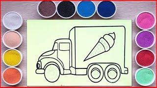 Đồ chơi TÔ MÀU TRANH CÁT XE TẢI BÁN KEM CHO BÉ - Sand painting truck ice cream art (Chim Xinh)