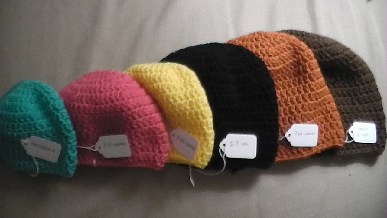 Gorro simple a crochet en punto alto (diferentes tallas) - YouTube