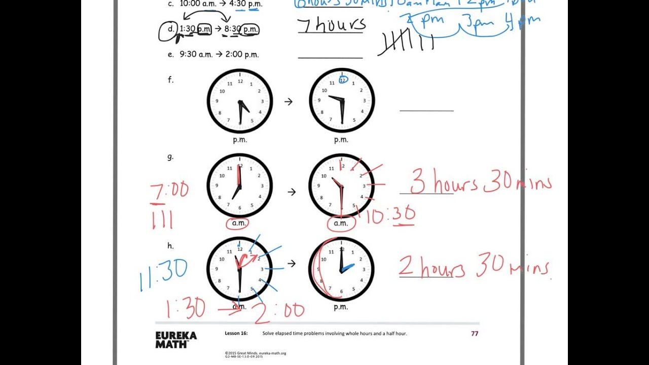 hight resolution of Elapsed Time Problems: 2nd Grade (solutions