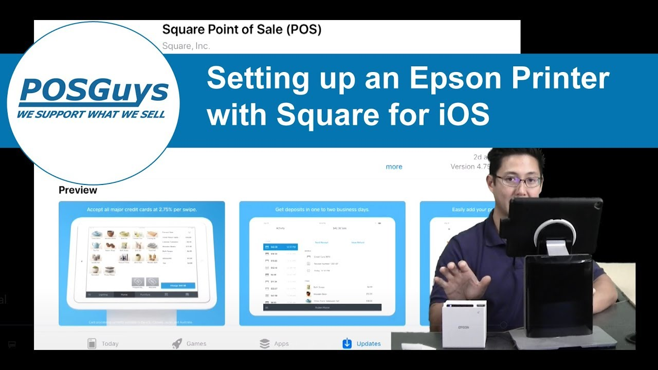 Pairing an Epson TM-m10 with Square and iOS
