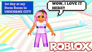 1ST DAY IN MY UNICORN CITY DORM ROOM!!! (Roblox Roleplay)