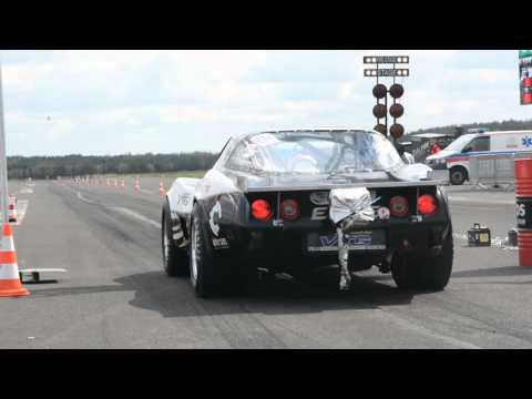 1600HP Corvette C3 powered by VTG - Loud acceleration and dancing on a track