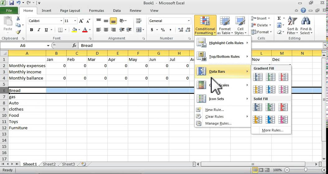 How To Do A Simple Budget In Excel. Simplest Color-Coded Tabe And